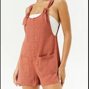 F21 Burnt Orange/Sienna linen overall romper